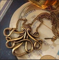 Cheap New Hot sale Cool 5pcs wholesale fashion Pirates of the Caribbean classic Octopus Retro necklace free shipping LK121