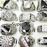 Wholesale Hot sale Cool Fashion jewelry mixed men enamel silver plated rings LK009