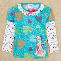 frozen tshirt - Frozen Children Fall Tshirt Long Sleeve Clothes Cartoon Elsa Anna Princess Girl Tshirt Toddler Baby T Shirt M Age Kids Wear GX717