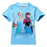 Girl Summer Short Frozen Elsa Shirt New 2014Boys Girls Top Blouse Shorts T-shirts for Kids Baby Children's Summer Cartoon Children T shirts Clothing 1PC