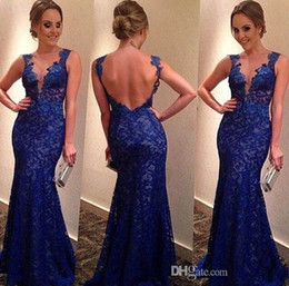 sexy Charming Royal Blue Lace Evening Dresses Sexy V-Neck Backless Mermaid Court Train Prom Gowns Celebrity Dresses backless