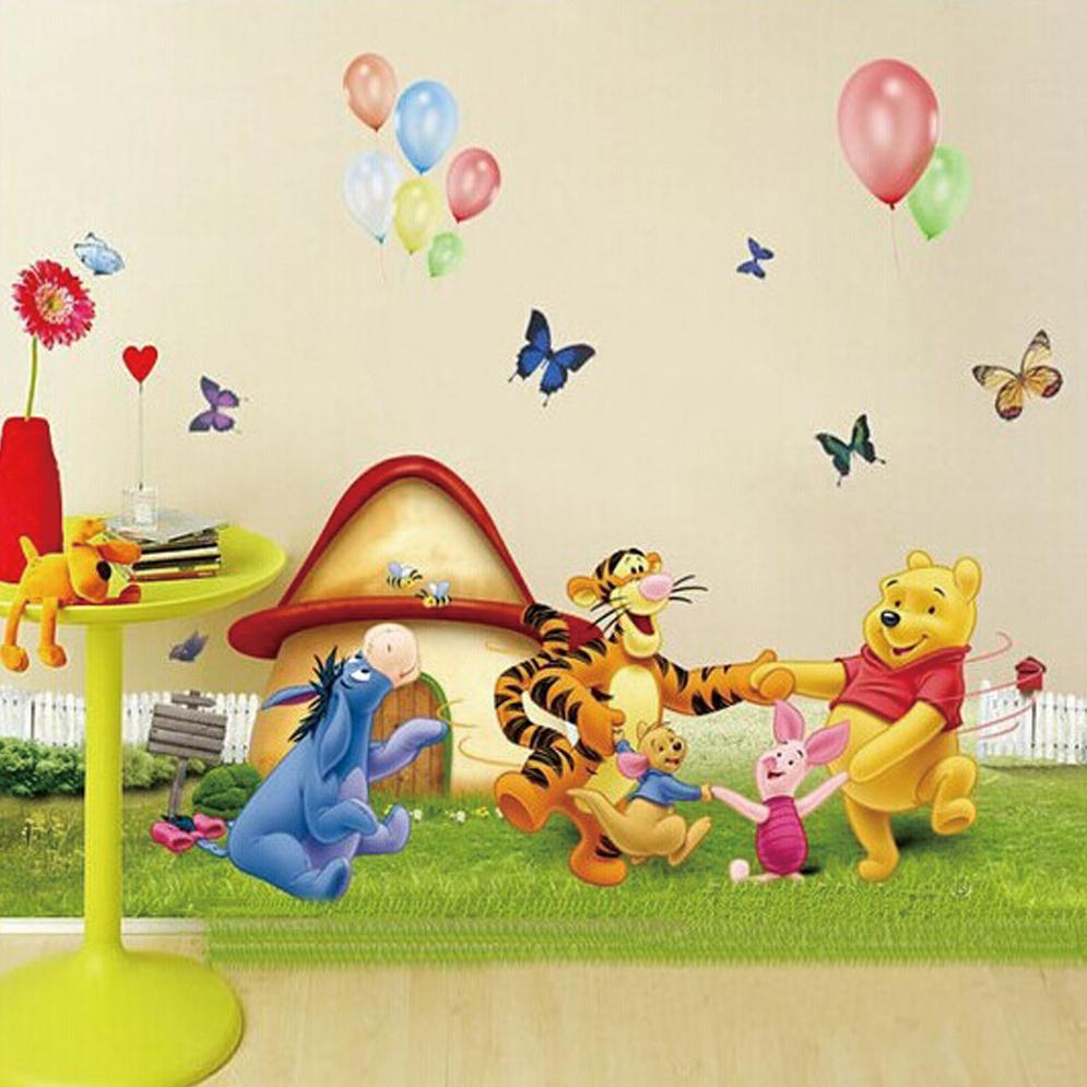 large winnie the pooh and friends dancing on the grass cartoon large winnie the pooh and friends dancing on the grass cartoon wall stickers for kids room decor kids room stickers nursery decals cartoon wall stickers