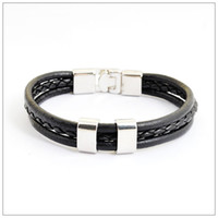 Top A quality Black and Brown Men's woven leather bracelet, F...