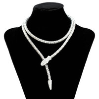 Wholesale Woman s Hollow Snake Metallic With Artificial Diamond Magnetic Snap Necklace