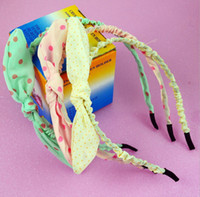 Wholesale New Cute Rabbit Head Bow Hair Bands Fabric Headband Women Girls Hair Jewelry Accessory Cheap Sale