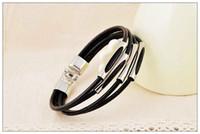 Health Black Men's woven leather bracelet, Fashion 4 layer le...
