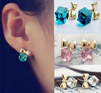 Wholesale Shimmer Chic Gold Bowknot Cube Crystal Stud Earring Gold Tone GP for Women Lady GJ028