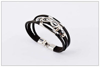 Health Black Men's woven leather bracelet, Fashion 3 layers l...