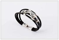 Health Black Men's woven leather bracelet, Fashion 3 layers l...