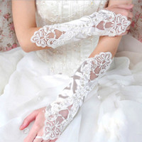 Wholesale 2014 New Arrival Bridal Gloves Ivory or White Lace Long Fingerless Elegant Wedding Party Gloves limit one item per purchase