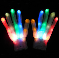 Wholesale 200pairs Novelty Halloween Party Glove Colorful LED Light Glove