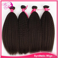 "Brazilian Hair  kinky Straight Under $30 18"" Brazilian Kinky Straight Virgin Hair Weaves 100% Unprocessed Human Hair Extensions 4pcs Bundles Remy Hair Weft Coarse Yaki"