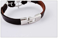 Black Brown Men's woven leather bracelet, Fashion Roulette pu...