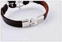 Black Brown Men's woven leather bracelet, Fashion Roulette pu...