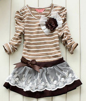 TuTu Summer other Wholesale-407-2012 NEW!! , Spring 5pcs baby girl striped children lace dress chest with flowers baby dress,tutu dress