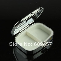 Pill Cases & Splitters OEM Metal 50PCS Rectangle Metal Pill Boxes Organizer DIY Medicine Case Holder 2 Compartments Silver Free Shipping