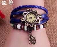 achat en gros de bracelet en cuir de trèfle gros-Retro Vintage femmes Lucky Clover Motif Montre Weave Wrap Quartz poignet en cuir Montre bracelet en gros montres Bracelets meilleur cadeau