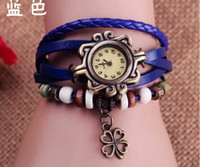 Fashion best digital gift - Retro Women Vine Lucky clover Pattern Wristwatch Weave Wrap Quartz Leather Wrist Watch Bracelet watches Bracelets Best gift