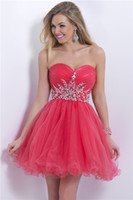 Cheap Cheap Strapless Beaded Crystal Ruched Tulle Short Corset Prom Homecoming Dresses