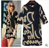 Wholesale Spring Autumn Women Casual Dress Vintage Letter Printed Cocktail Dress Woman Work Wear Office Clothes New European American Apperal