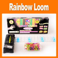 Wholesale Rainbow loom kit rainbow loom DIY rubber wrist bands bracelets with bands S clips Hook shell box new