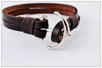 Black Brown Men's woven leather bracelet, titanium steel anch...