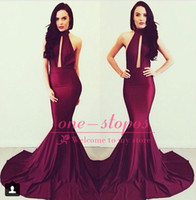 Wholesale Sexy Michael Costello Burgundy Mermaid Prom Dresses High Neck Keyhole Backless Vestidos De Fiesta Formal Evening Gowns BO6082