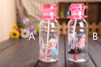 Wholesale 2014 Hot selling High Quality drinkware Anna and Elsa PP Texture Suction cups kids cartoon water bottle sports bottle