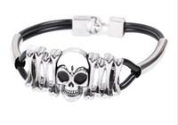 big wholesale - Fashion product Big skull bone pu leather bracelet with alloy bracelet
