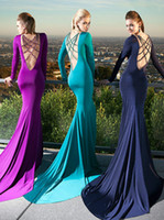 Reference Images V-Neck Elastic Satin Tarik Ediz 2014 Prom Dresses New Elegant Sexy V-Neck Full Sleeve Green Purple Beading Crystal Mermaid Backless Long Evening Gown Plus Size