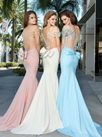 Reference Images Scoop Elastic Satin Tarik Ediz 2014 Prom Dresses New Elegant Sexy Short Sleeve Pink White Blue Beading Crystal Bow Mermaid Backless Long Evening Gown Plus Size
