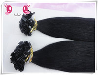 Brazilian Hair Black Straight 18-28inches #1b color Brazilian Virgin human hair straight Flat tip hair extension,100g pc 3pcs lot
