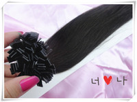 Brazilian Hair Natural Color Straight Flat tip hair fine quality 100% human hair remy flat tip hair extension color