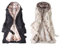 Women amazing fur - Amazing Faux Fur Lining Women s Beige Fur Coats Winter Warm Long Coat Drop Shipping