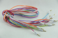 Wholesale 3 mm Aux Audio Cable Crystal Male to Male Noodle Car Stereo Auxiliary ft Cord Colorful for iPhone S C S Samsung Galaxy S4 S5 Note