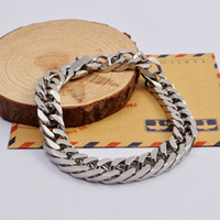 Wholesale Men s Punk fashion silver L stainless steel vintage chunky link chain bracelet SB0542
