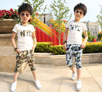 Boy Summer Standard 2014 new arrival summer children's t-shirts cute handsome boy's kids cotton two color shirts short camouflage sofe sport shirts clothing set