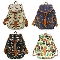 Wholesale Cute Fashion Women s Canvas Travel Satchel Shoulder Bag Backpack School Rucksack