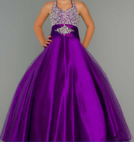 Wholesale New Halter Purple A Line Tulle Pageant Dresses Beaded Rhinestones Top Princess Ruffles Flower Girl Gowns