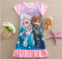 Wholesale Frozen Baby Girl Homewear Pajamas Dress Elsa Anna Princess Picture Children Casual Home Dresses Kids Dairy queen Dress GX721