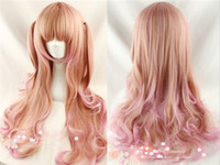 Wholesale 70cm lolita mix pink color curly synthetic heat resistance fiber cosplay and part wigs with neat bang