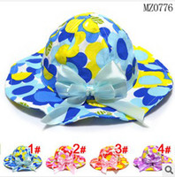Girl Summer Visor Baby kids 2014 Children's bucket hats wave pattern edge Sunflower Children sun hat (4 colors), 10pcs lot, dandys