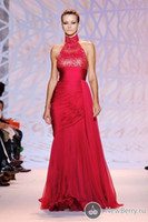 Reference Images High Neck Chiffon SSJ Zuhair Murad 2014 Sexy Red Chiffon Evening Dresses Beaded Prom Gown 2015 Mermaid Trumpet High Neck Sequins Tiers Pleated Sweep Train