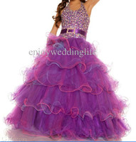 Wholesale Halter Organza Purple Little Girl Pageant Dresses Beaded Layered Sequins Beaded Top Floor Length Flower Girl Gowns