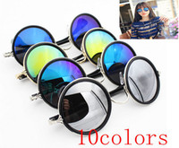 Wholesale maxi freeshipping m568 The new round sunglasses and Black Retro round frame Prince mirror sunglasses10colors