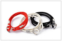 Red Black White Men's woven leather bracelet, Leather bracel...
