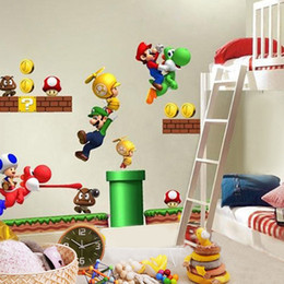 Wholesale Super Mario Bros Kids Removable Wall Sticker Decals Nursery Home Decor Vinyl WRB