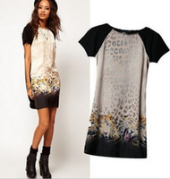 Wholesale 2014 New European Fashion Spring Summer women O collar short sleeve sexy lady leopard Tigether print dress
