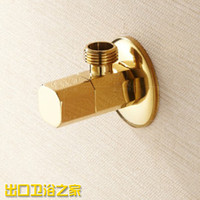Wholesale Copper Square luxury all grade gold plated golden bath triangle valve essential accessories Angle Valves