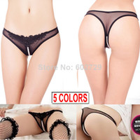 Woman S G-string Free Shipping Women's Sexy Thongs G-string V-string Panties Knickers Mesh Lace Underwear Open Crotch with beading 5 colors X9